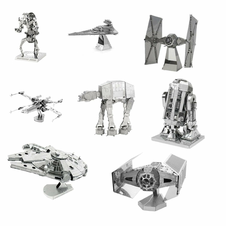 Metall Ekonsth 3D Laser Steel Cut modellllerler Kits stjärnornas krig Set of 8 complete Gift Set
