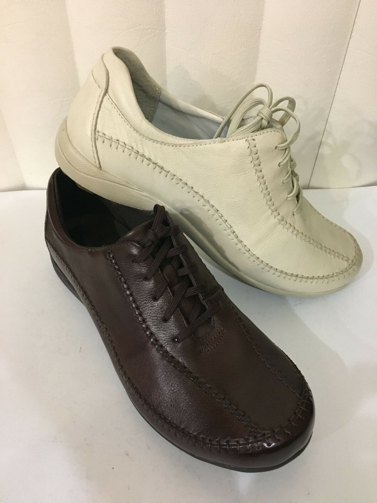 Hush Puppies Energetic Coffee/Marshmallow/ noir  Leather Lace Up Sneakers W/XWIDE