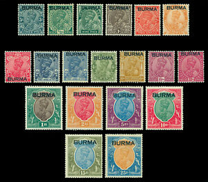 INDIA-1937-KGV-Definitives-overprint-BURMA-SG-1-18-Scott-1-18-mint-MNH-MLH