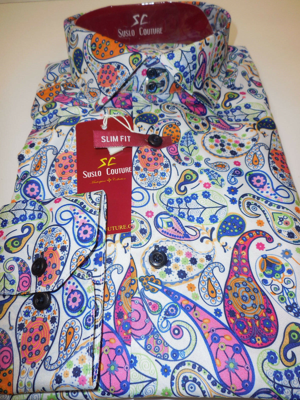 Mens White Pink orange bluee Paisley Lightweight Clubbing Shirt Suslo Couture M16