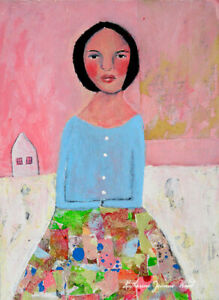 Original Woman Figure Collage Painting Skirt of Many Colors Katie Jeanne Wood
