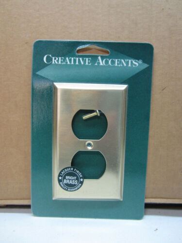Creative Accents Bright Brass 1-Gang Duplex Recepactle Outlet Wall Plate Cover