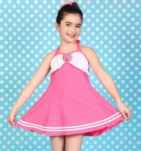 Girls Kids One-piece Padded Skirt Swimsuit Swimwear Bathing Suit US SIZE 8-14