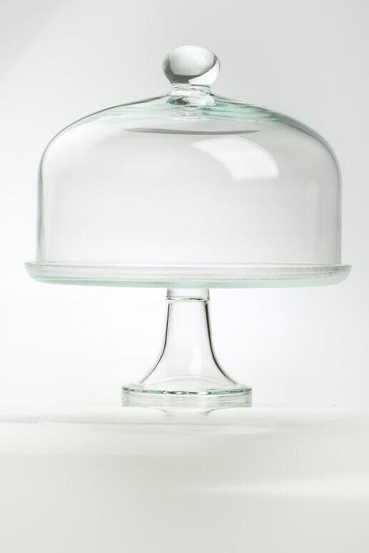 Grande Pantalla Cristal Soporte de Tarta con Diseño Domo Cubierta Tapa 35 Cm