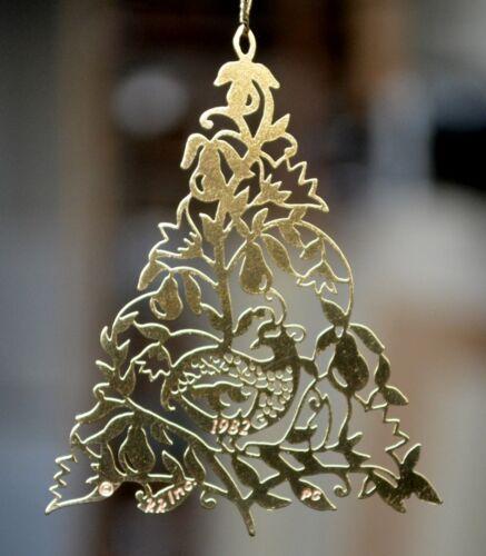 Partridge in a Pear Tree Christmas Brass Ornament by Kristin Kjorlaug