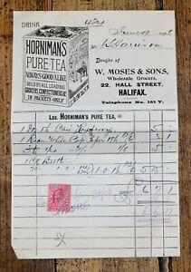 Antique 1908 Receipt for Groceries W. Moses of Halifax w/ Hornimans Tea Advert