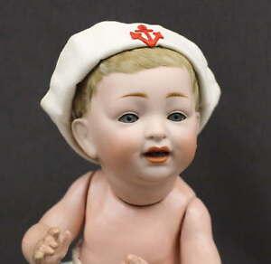 ANTIQUE-GERMAN-CHARACTER-BABY-DOLL-039-KESTNER-039-211-With-Sailor-Hat