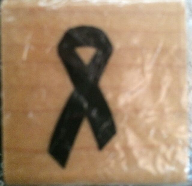 New SUPPORT RIBBON Wood Mounted Rubber Stamp DIY Crafts Cards Scrapbook Charity