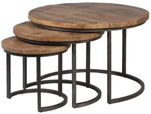 "30"" Pupetta Table Set Of Three Coffee Tables Wood Brown Round Black Steel Base"