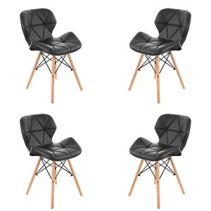 4 x Chaise en PU Cuir avec Pieds en Bois  Salle à Manger/Cuisine/Bar/Bureau Noir