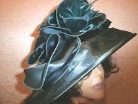 Dark Teal Satin Designer Collapsible Ladies Derby Dress Fashion Hat With Ta