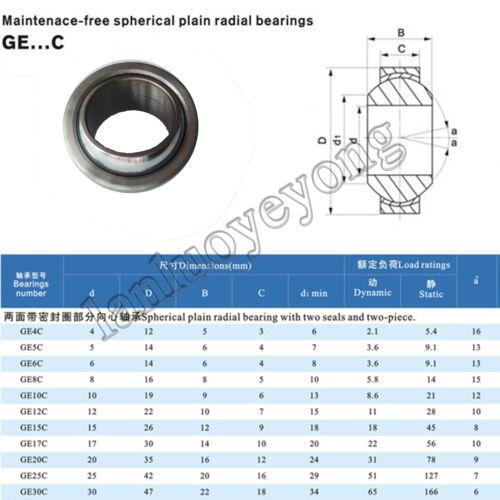 1pc new GE8C Spherical Plain Radial Bearing 8x16x8mm