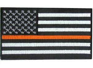 """Thin Orange Line USA Flag Patch Iron On Patch 3.5/"""" X 2/"""" EMS subdued flag"""