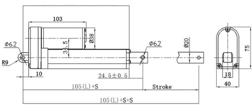 DC 12V 24V Electric Linear Actuator Motor Waterproof 2000N+Controller+Brackets