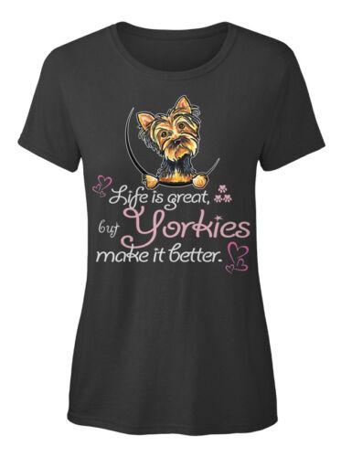 mais Yorkies rendent Standard T-shirt femme Yorkshires Sweet-La vie est grande