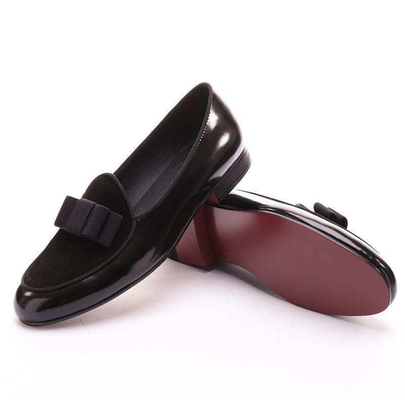 Men Premium RESSgoldTH  Black Velvet Slippers Slip-on Black Velvet Loafers shoes