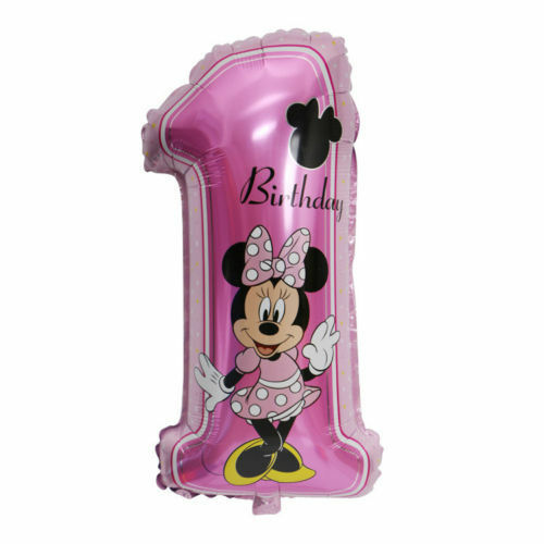 Mickey Minnie Mouse Blue Pink 1st Birthday Number 1 Foil Balloon