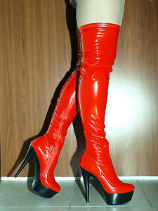 "red latex rubber high boots size 614 heels61"" 15cm"