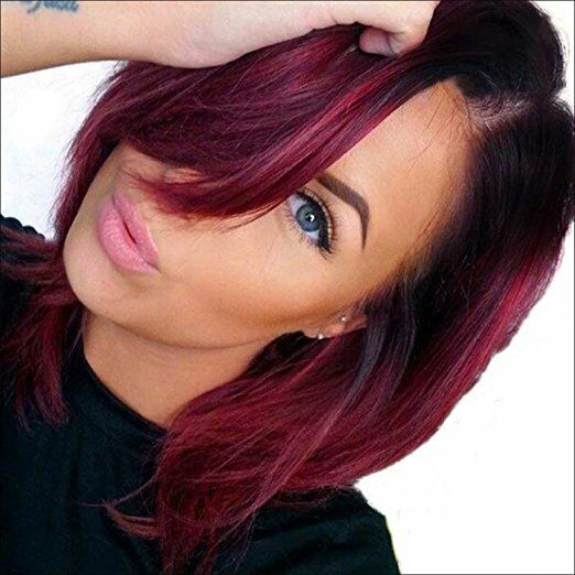 Red Ombre Short Hair Straight