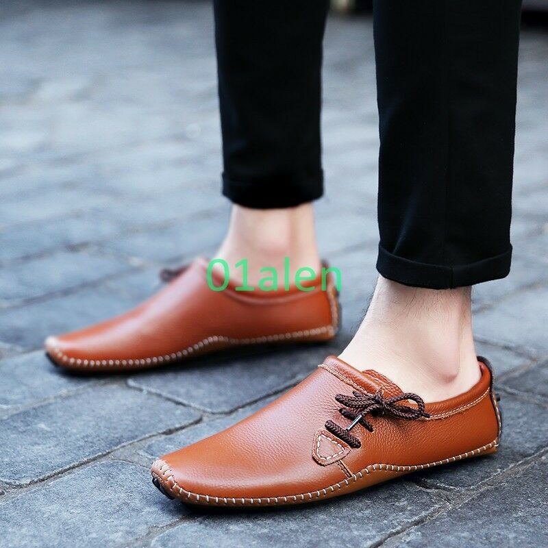 Vogue Comfort Mens Slip On Lace Up Causal Loafer Korean Driving Moccasins Shoes