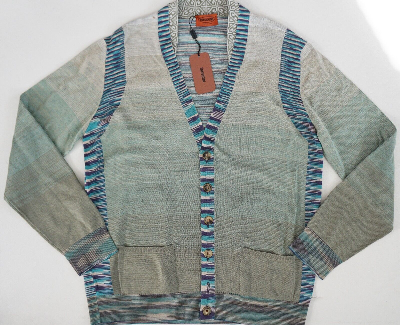 540 Authentic MISSONI Orange LABEL 100% COTTON Knitted Cardigan Sweater IT-52 L