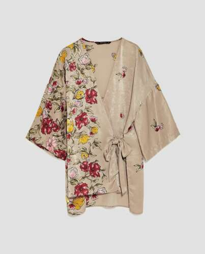 Muster Satin Printed Zara Blumen Floral Jacket Kimono Gürtel Blouse Bluse  Jacke A7gzxgn e87a683962