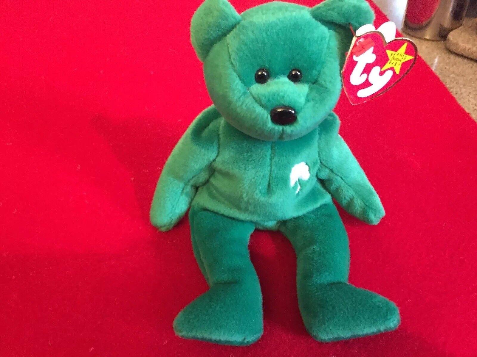 Rare Ty Original Erin Irish Beanie Baby Bear, Retired with ERRORS  1997