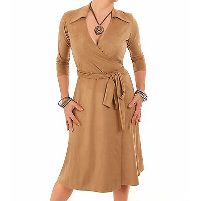 New Faux Suede Wrap Dress - Three Quarter Sleeve