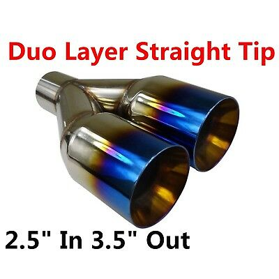 """Polished Stainless 2.5/"""" In 3.5/"""" Out Blue Burnt Straight Cut Duo Exhaust Tip"""