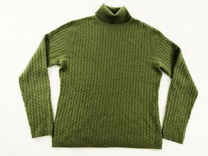 Talbots-Womens-100-Cashmere-Turtle-Neck-Cable-Knit-Pullover-Sweater-Green-Sz-LP