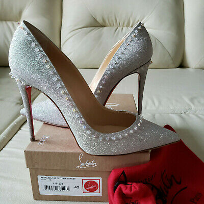 best website d97ea 35705 NIB Christian Louboutin Anjalina 100 Spikes Glitter Pumps 42 So Kate  Pigalle NEW | eBay