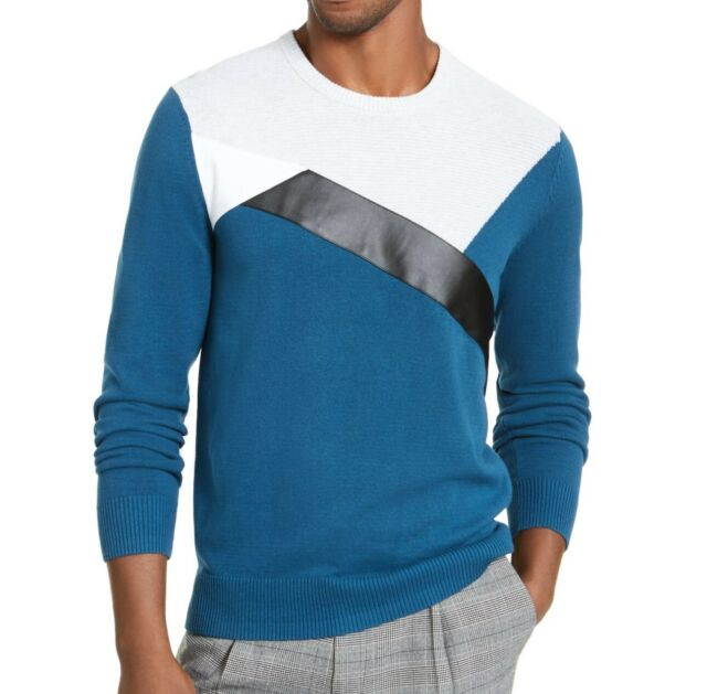 INC Mens Sweater Teal Blue Size XL Crewneck Faux Leather Colorblock $59 #046