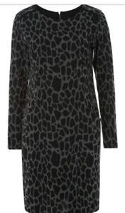 e3902fadc1c3 ROMAN Grey Leopard print Long Sleeve Shift Dress Sizes 10 to 20 ...