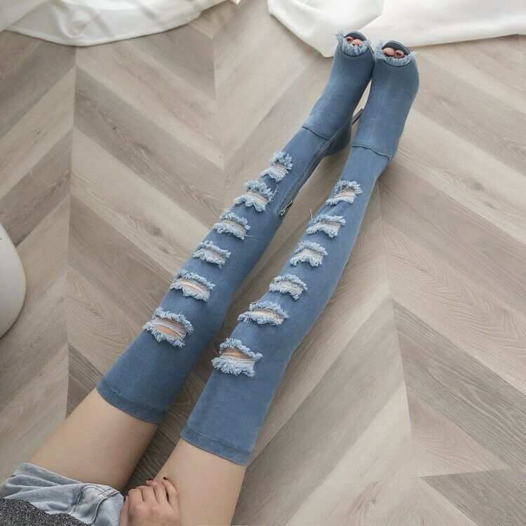 Womens New Fashion Denim Peep Toe Ripped High Heel Over Knee Boots shoes OMOI