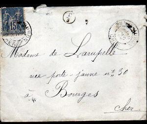 DUN-sur-AURON-18-ENVELOPPE-Obliteration-postale-Cachet-Rural-en-1895