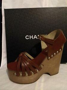 ccbd19f3a9ed Image is loading CHANEL-14A-Leather-Platform-Wood-Wedge-Heel-Studded-
