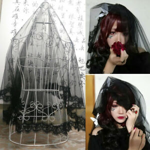 140-180cm-Black-Lace-Wedding-Veil-Hair-Accessory-Gothic-Halloween-Party-Comb