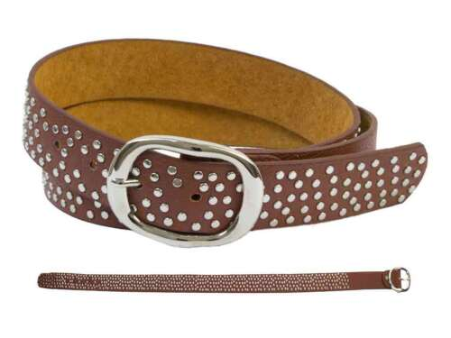 Leather Belt with Rivets Various Colors from Bb.klostermann for Girls Ladies