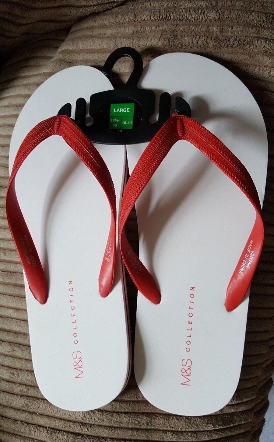 M&S MARKS AND SPENCER COLLECTION MENS FLIP FLOPS WHITE/ RED SIZE LARGE 10-11