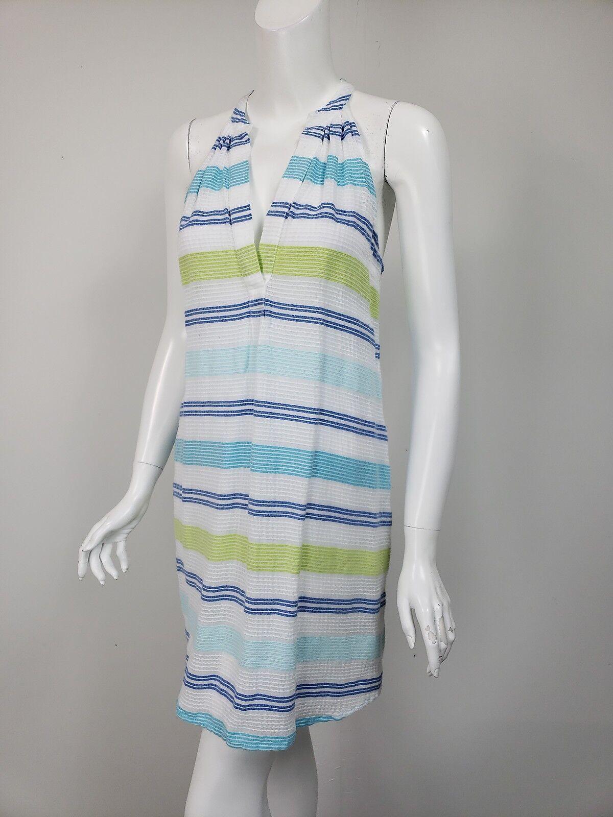 VINEYARD VINES White Aqua bluee Lime Stripe Gauzy Cotton Tunic Dress sz XS