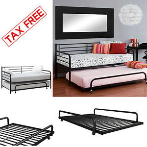 Bunk Beds Kids Black Metal Twin Bed Roll Out Trundle Frame Storage