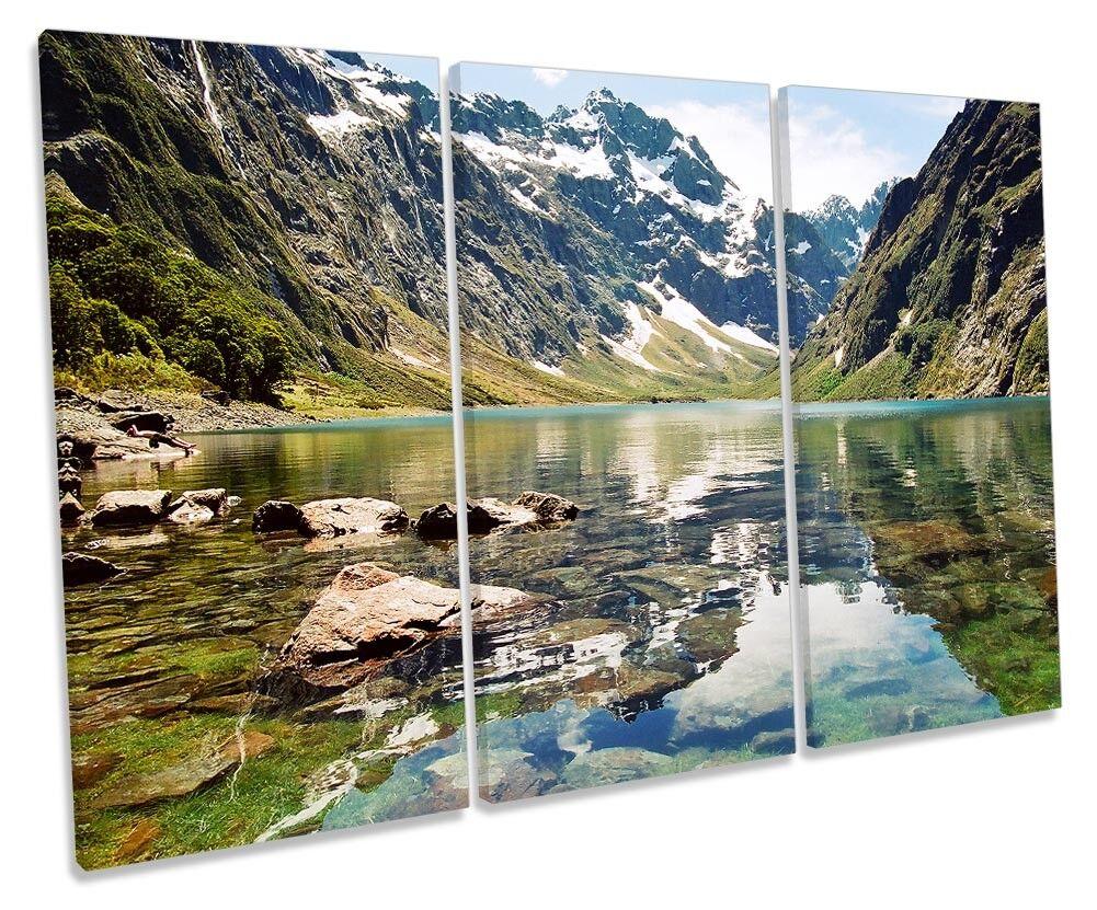 New Zealand Lake Marian Picture TREBLE CANVAS CANVAS CANVAS WALL ART Print b8d6b4