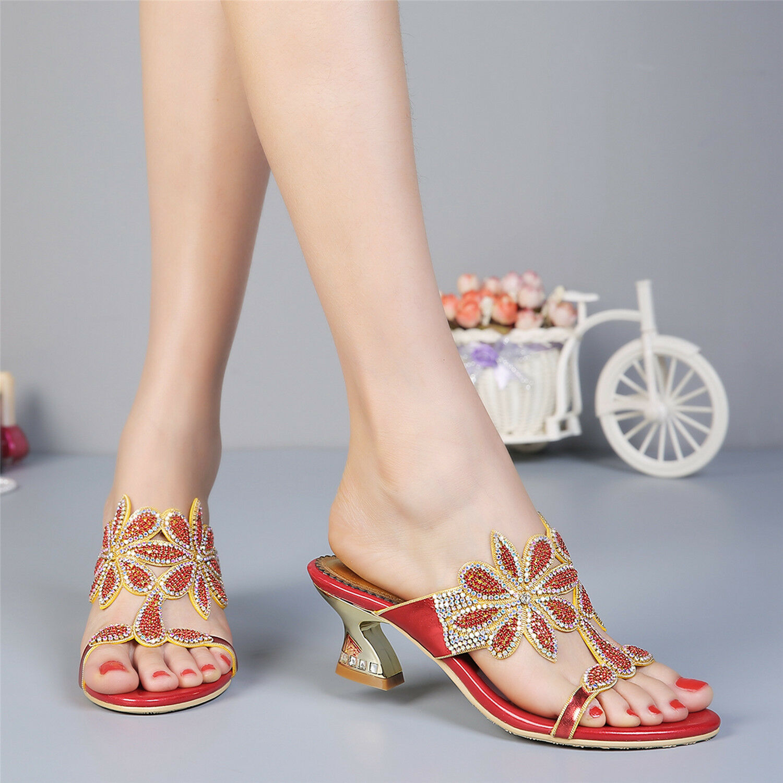 Vestido de boda mujeres Niña con estrás Med Tacones Tacones Tacones Sandalias Zapatos Zapatillas Flip Flops  más orden