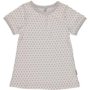 Maxomorra-Kinder-Maedchen-T-Shirt-Gr-98-128-Sterne-grau-GOTS-zertifiziert-Bio-neu
