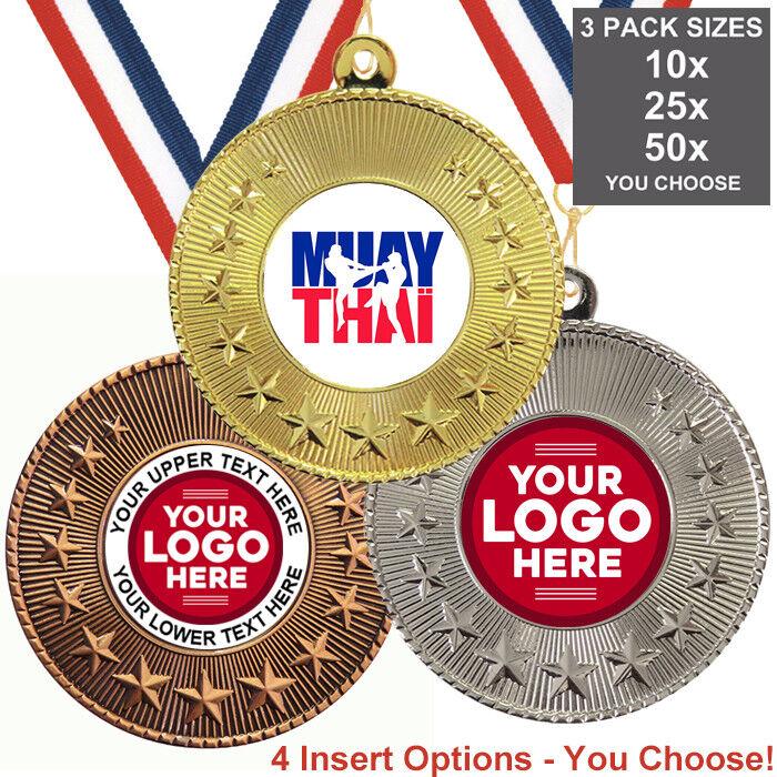 MUAY Thai medaglie in metallo 50mm, confezione da 10 nastri inserti o proprio logo, 3 confezioni