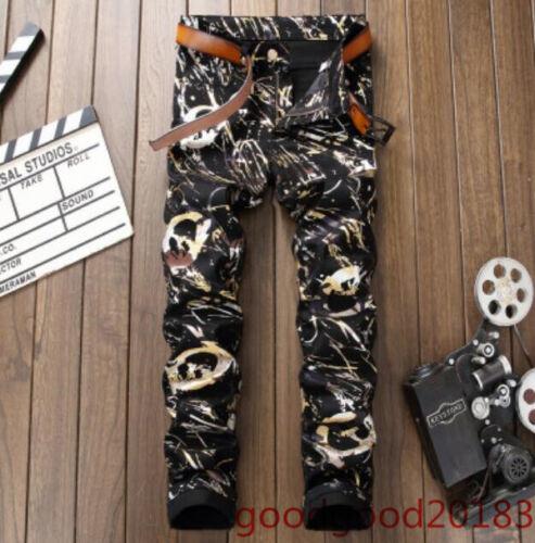 Hot Vogue Mens White Washed demin Jeans Trouers Floral Printed Pencil Pants Size