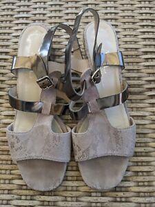 AGL-Snake-Embossed-Print-Sandal-metallic-Excellent-size-39