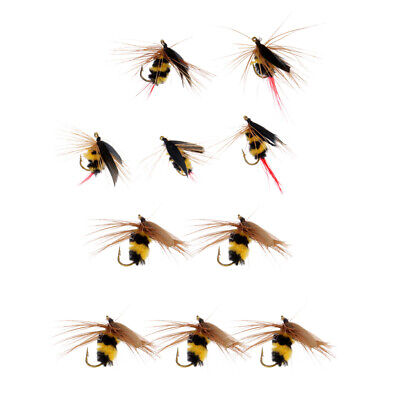 10pcs Yellow /& Black Bumble Bee Flies Dry Fly Artificial Insect Fishing Bait