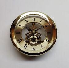 "Skeleton Insert Clock Movement NEW Quartz Battery Fit Up 4 1/16"" Gold Roman Dial"