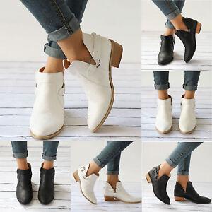 Mujer-Botines-de-Piel-Planos-Vaquero-Informal-Playa-Zapatos-Tacon-bajo-Talla
